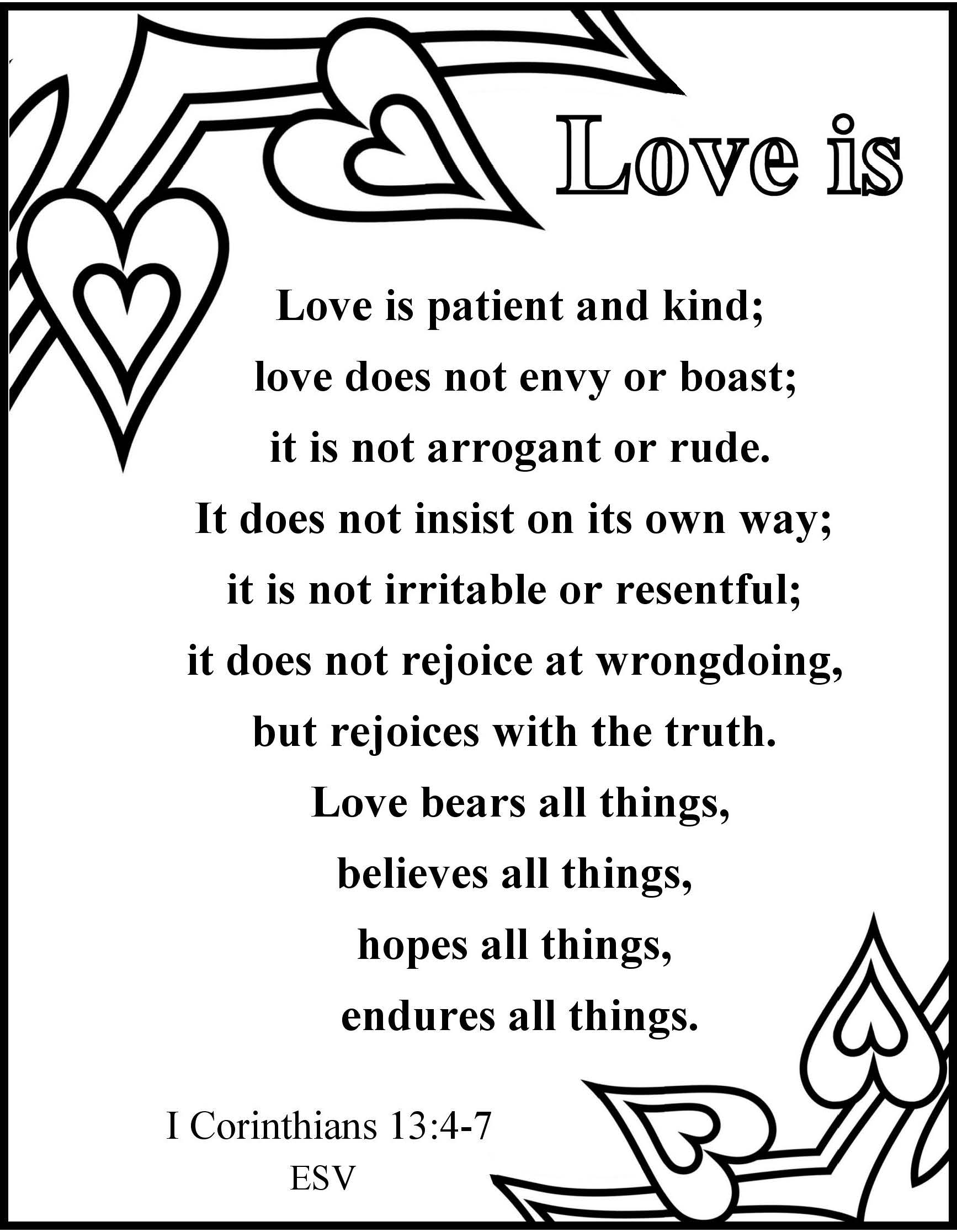 It is a photo of Unforgettable 1 Corinthians 13 Coloring Page