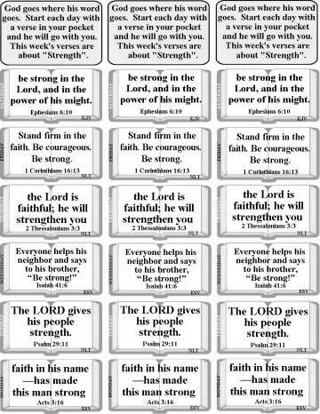Bulletin Insert with Bible verses